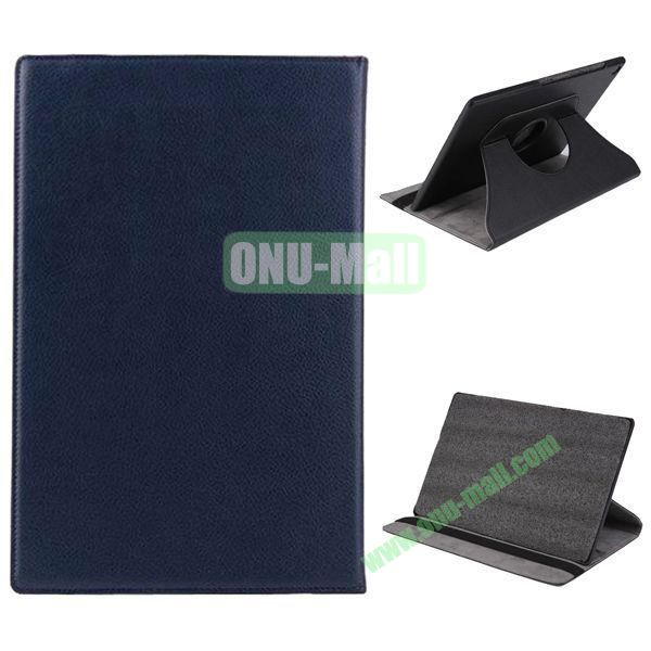360 Degree Rotation Litchi Texture Leather Case for Sony Xperia Z2 Tablet (Dark Blue)