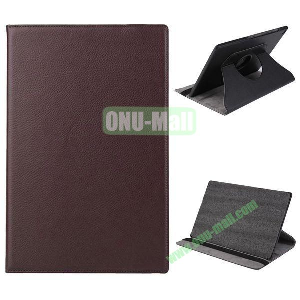 360 Degree Rotation Litchi Texture Leather Case for Sony Xperia Z2 Tablet (Brown)
