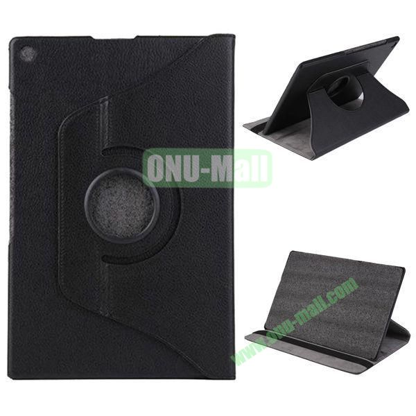 360 Degree Rotation Litchi Texture Leather Case for Sony Xperia Z2 Tablet (Black)