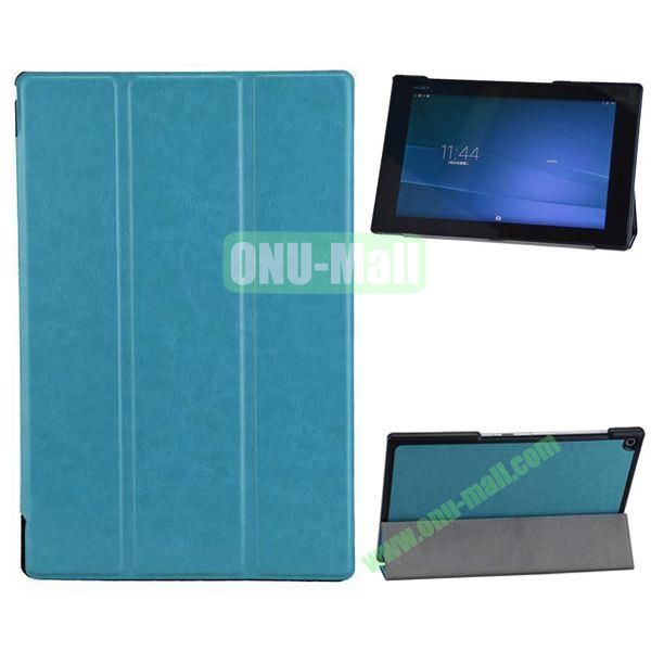 3-folding Crazy Horse Texture Leather Case for Sony Xperia Z2 Tablet (Light Blue)