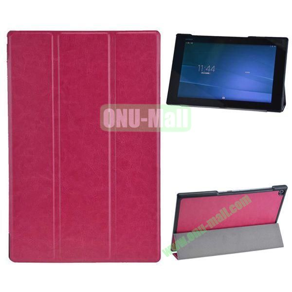 3-folding Crazy Horse Texture Leather Case for Sony Xperia Z2 Tablet (Rose)