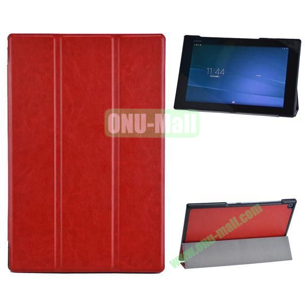 3-folding Crazy Horse Texture Leather Case for Sony Xperia Z2 Tablet (Red)