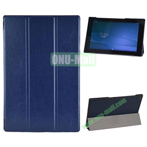 3-folding Crazy Horse Texture Leather Case for Sony Xperia Z2 Tablet (Dark Blue)