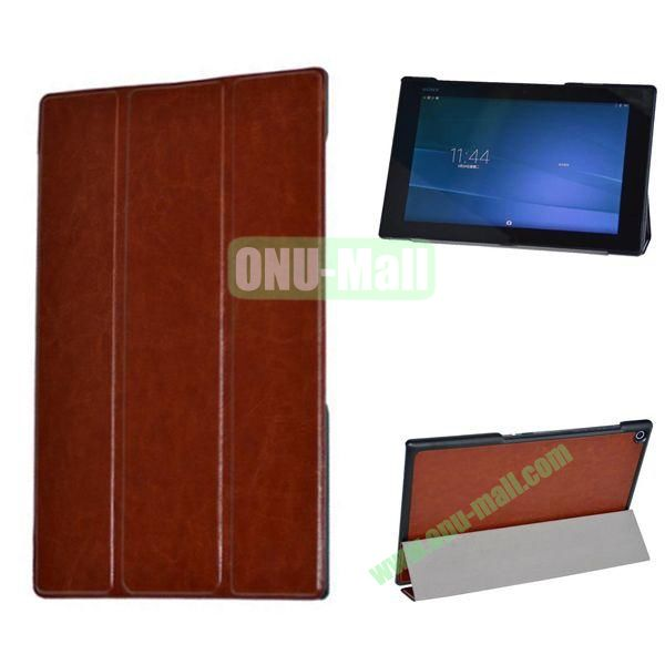 3-folding Crazy Horse Texture Leather Case for Sony Xperia Z2 Tablet (Brown)