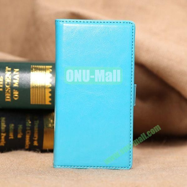 Crazy Horse Texture Magnetic Flip Stand Leather Case for Sony Xperia Z3 D6603 D6653 (Blue)