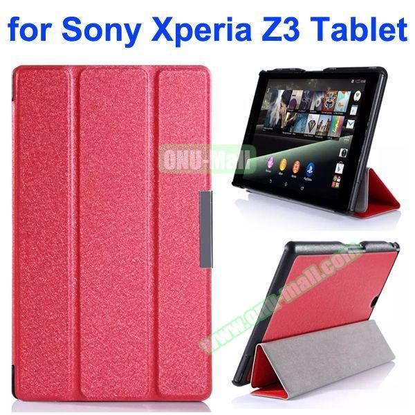 3-Folding Ultra Thin Flip Leather Case for Sony Xperia Z3 Tablet (Red)