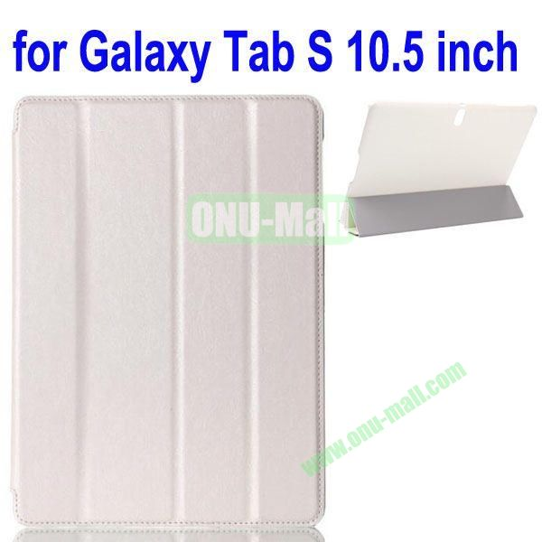 4-folding Crazy Horse Texture Leather Case for Samsung Galaxy Tab S 10.5 T800 (White)