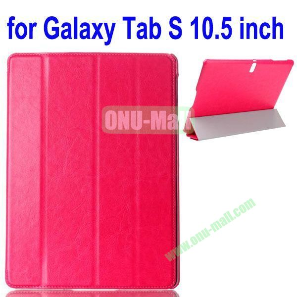 4-folding Crazy Horse Texture Leather Case for Samsung Galaxy Tab S 10.5 T800 (Rose)