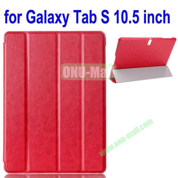 4-folding Crazy Horse Texture Leather Case for Samsung Galaxy Tab S 10.5 T800 (Red)