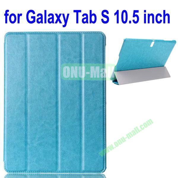 4-folding Crazy Horse Texture Leather Case for Samsung Galaxy Tab S 10.5 T800 (Blue)
