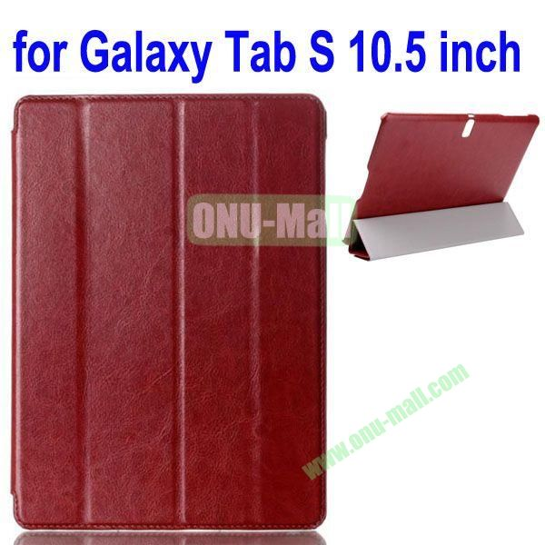 4-folding Crazy Horse Texture Leather Case for Samsung Galaxy Tab S 10.5 T800 (Brown)