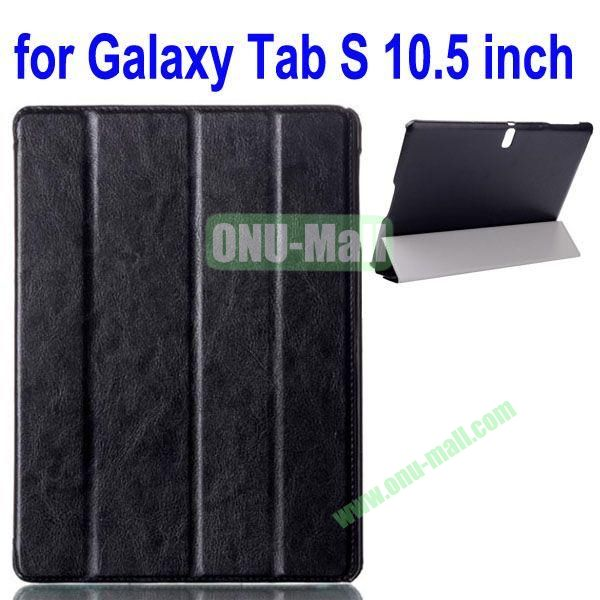 4-folding Crazy Horse Texture Leather Case for Samsung Galaxy Tab S 10.5 T800 (Black)