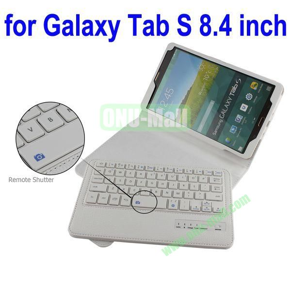 New Arrival Detachable Romote Shutter Bluetooth Keyboard Leather Case for Samsung Galaxy Tab S 8.4 T700 (White)