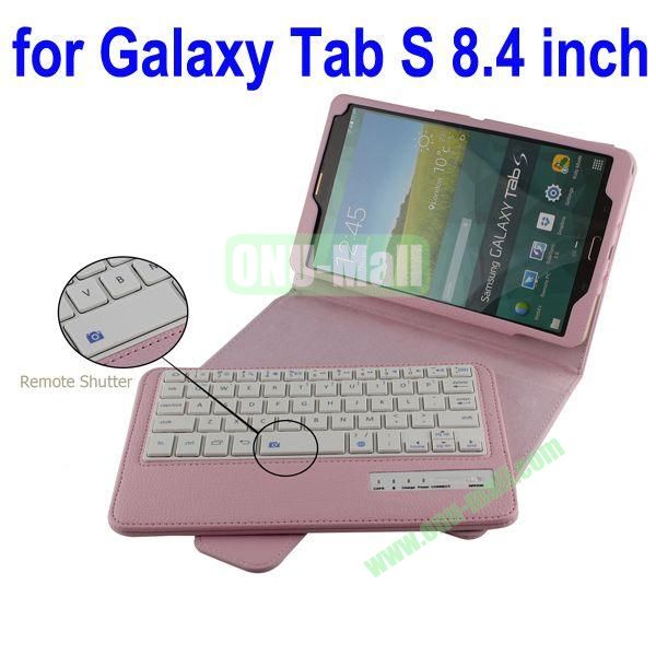 New Arrival Detachable Romote Shutter Bluetooth Keyboard Leather Case for Samsung Galaxy Tab S 8.4 T700 (Pink)