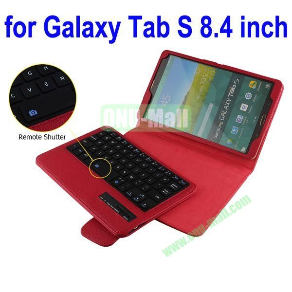 New Arrival Detachable Romote Shutter Bluetooth Keyboard Leather Case for Samsung Galaxy Tab S 8.4 T700 (Red)