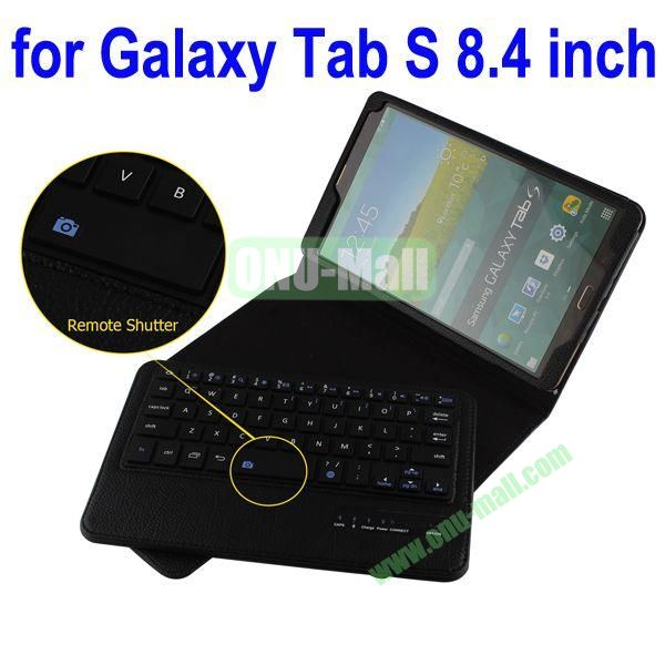 New Arrival Detachable Romote Shutter Bluetooth Keyboard Leather Case for Samsung Galaxy Tab S 8.4 T700 (Black)