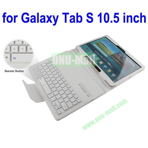 New Arrival Detachable Romote Shutter Bluetooth Keyboard Leather Case for Samsung Galaxy Tab S 10.5 T800 (White)