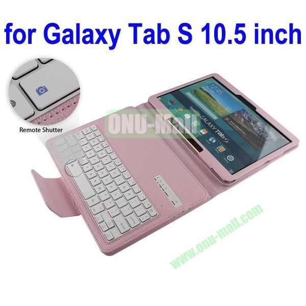 New Arrival Detachable Romote Shutter Bluetooth Keyboard Leather Case for Samsung Galaxy Tab S 10.5 T800 (Pink)
