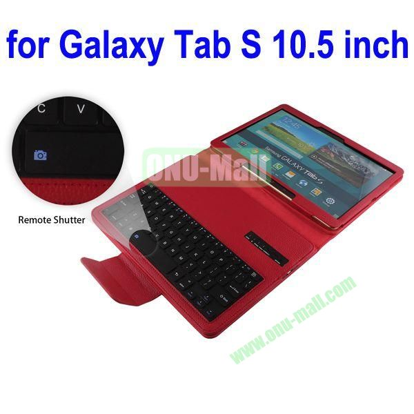 New Arrival Detachable Romote Shutter Bluetooth Keyboard Leather Case for Samsung Galaxy Tab S 10.5 T800 (Red)