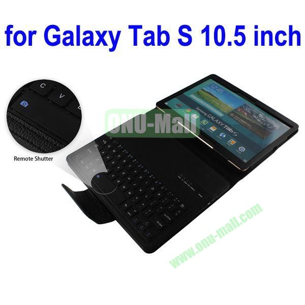 New Arrival Detachable Romote Shutter Bluetooth Keyboard Leather Case for Samsung Galaxy Tab S 10.5 T800 (Black)
