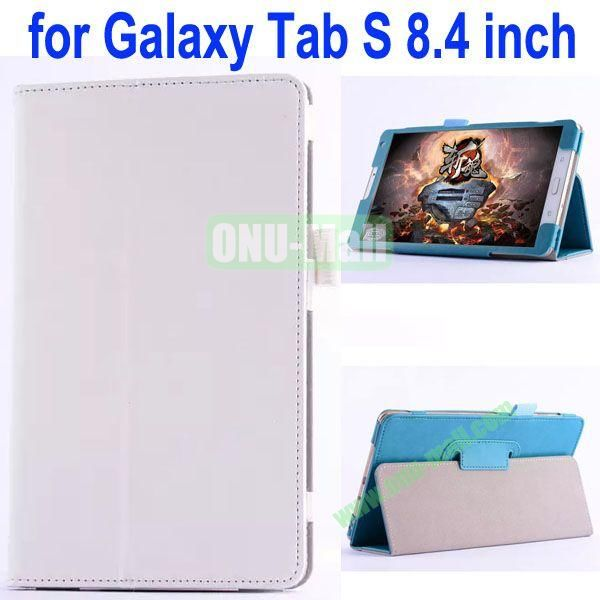 Crazy Horse Texture Flip Stand Leather Case for Samsung Galaxy Tab S 8.4 T700 (White)