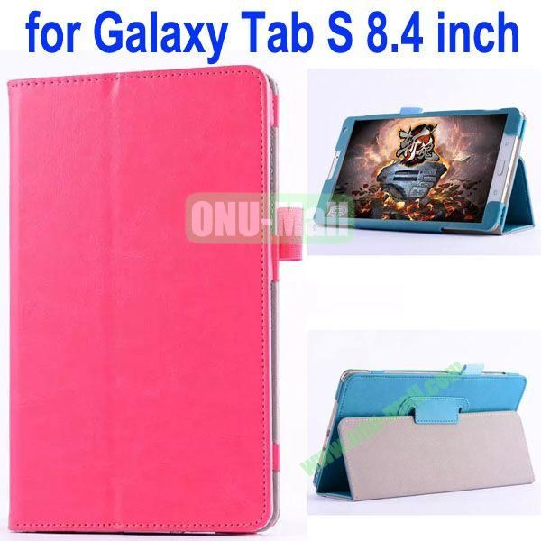Crazy Horse Texture Flip Stand Leather Case for Samsung Galaxy Tab S 8.4 T700 (Rose)