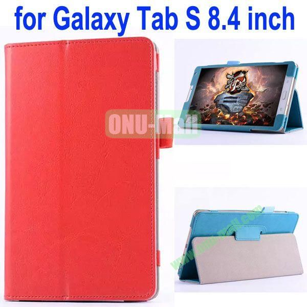 Crazy Horse Texture Flip Stand Leather Case for Samsung Galaxy Tab S 8.4 T700 (Red)