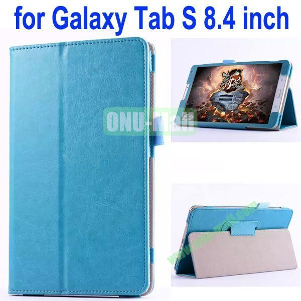 Crazy Horse Texture Flip Stand Leather Case for Samsung Galaxy Tab S 8.4 T700 (Cyan)