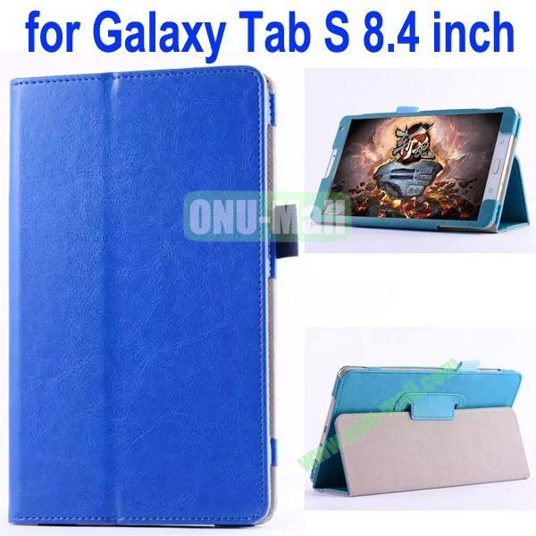 Crazy Horse Texture Flip Stand Leather Case for Samsung Galaxy Tab S 8.4 T700 (Blue)