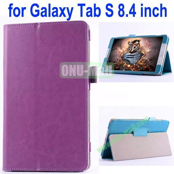 Crazy Horse Texture Flip Stand Leather Case for Samsung Galaxy Tab S 8.4 T700 (Purple)