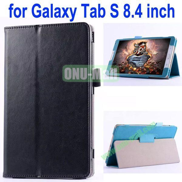 Crazy Horse Texture Flip Stand Leather Case for Samsung Galaxy Tab S 8.4 T700 (Black)