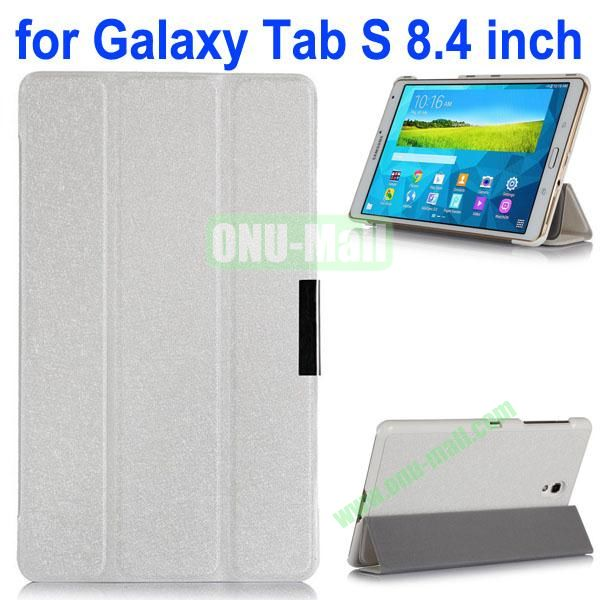 3-folding Ultrathin Flip Leather Case for Samsung Galaxy Tab S 8.4 T700 (White)