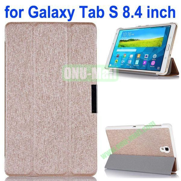 3-folding Ultrathin Flip Leather Case for Samsung Galaxy Tab S 8.4 T700 (Champagne)