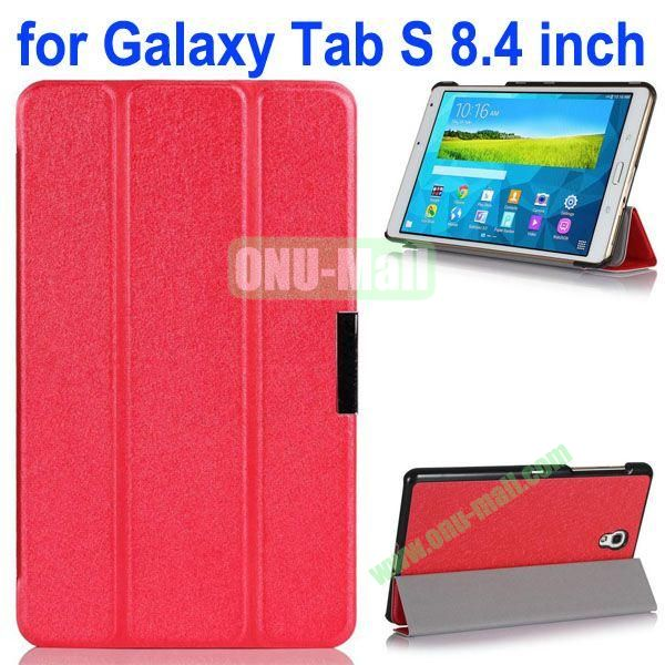 3-folding Ultrathin Flip Leather Case for Samsung Galaxy Tab S 8.4 T700 (Red)