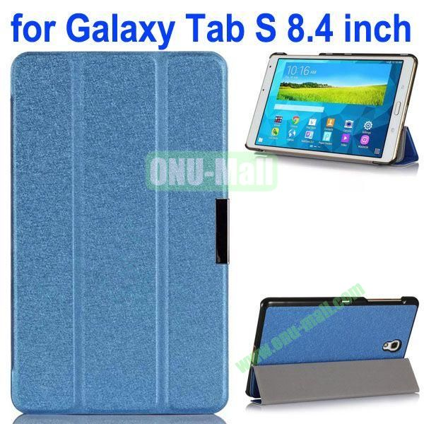 3-folding Ultrathin Flip Leather Case for Samsung Galaxy Tab S 8.4 T700 (Blue)