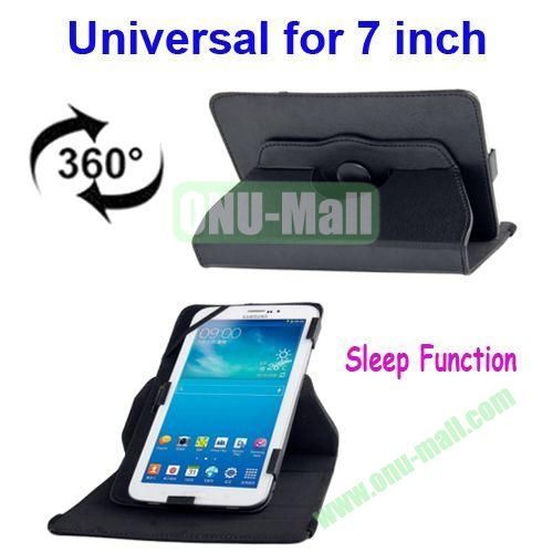 360 Degree Rotatable Universal Leather Case for 7.0 inch Tablet PC with Sleep Function (Black)
