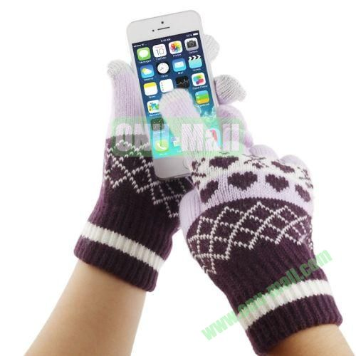 Heart Pattern Three Finger Touch Screen Touch Gloves for iPhone 5 & 5S & 5C, iPhone 4 & 4S,iPad,iPod Touch, etc (Purple)