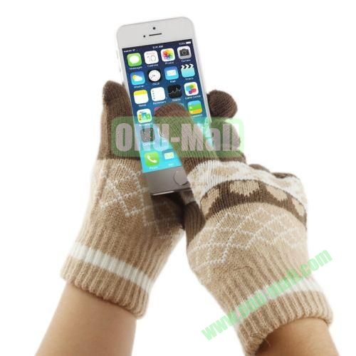 Heart Pattern Three Finger Touch Screen Touch Gloves for iPhone 5 & 5S & 5C, iPhone 4 & 4S,iPad,iPod Touch, etc (Brown)