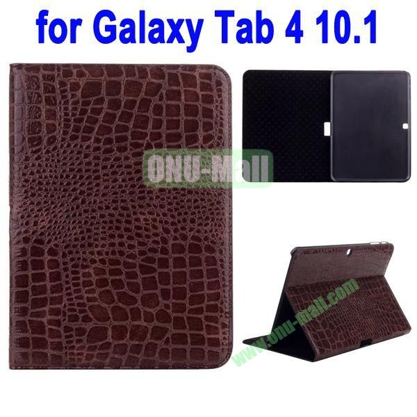 Crocodile Skin Texture Leather Case for Samsung Galaxy Tab 4 10.1 T530 (Brown)