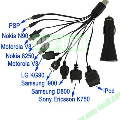 10 in 1 USB Car Charger with Cable for iPhone Samsung Galaxy S IV  i9500  S III  i9300 Note II  N7100  i9220  i9100  i9082  Nokia  LG  Sony Xperia  BlackBerry Z10  HTC One X