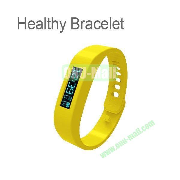0.91 Inch OLED Healthy Bracelet Smart Tracker Bracelet ABS Bluetooth Sleep Recorder Monitor Stopwatch Time Display Pedometer Sport Bracelet Wireless to Phone (Yellow)