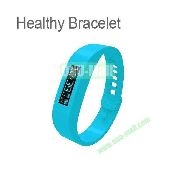 0.91 Inch OLED Healthy Bracelet Smart Tracker Bracelet ABS Bluetooth Sleep Recorder Monitor Stopwatch Time Display Pedometer Sport Bracelet Wireless to Phone (Blue)