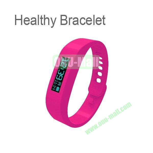 0.91 Inch OLED Healthy Bracelet Smart Tracker Bracelet ABS Bluetooth Sleep Recorder Monitor Stopwatch Time Display Pedometer Sport Bracelet Wireless to Phone (Rose)