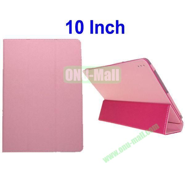 Toothpick Lines Flip Three Folio Style Leather Case Cover for 10 Inch All Tablet PC(Pink)