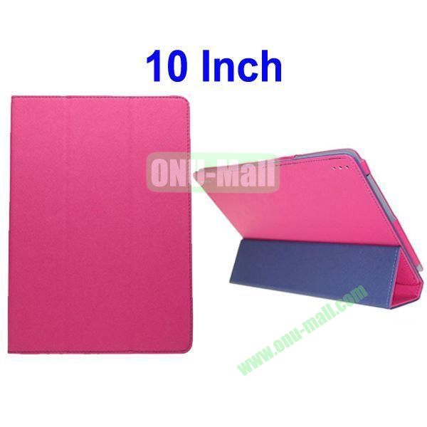 Toothpick Lines Flip Three Folio Style Leather Case Cover for 10 Inch All Tablet PC(Rose)