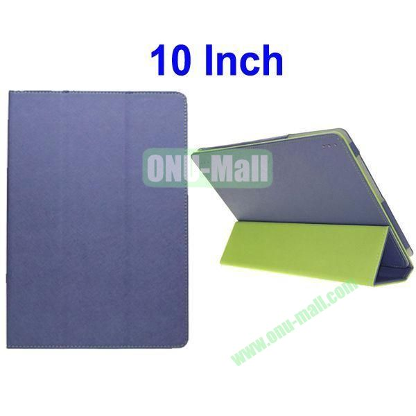 Toothpick Lines Flip Three Folio Style Leather Case Cover for 10 Inch All Tablet PC(Purple)
