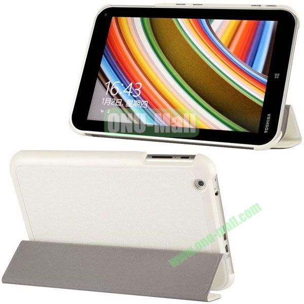 Silk Texture 3-Folding Leather Cover for Toshiba WT8  Encore (White)