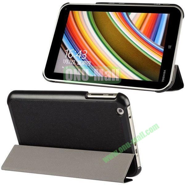 Silk Texture 3-Folding Leather Cover for Toshiba WT8  Encore (Black)