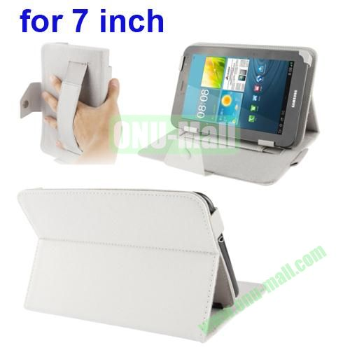 Universal Cross Texture Adjustabe Leather Case for 7 inch Tablet PC with Elastic Hand Strap (White)