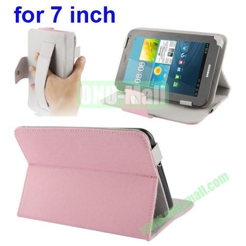 Universal Cross Texture Adjustabe Leather Case for 7 inch Tablet PC with Elastic Hand Strap (Pink)